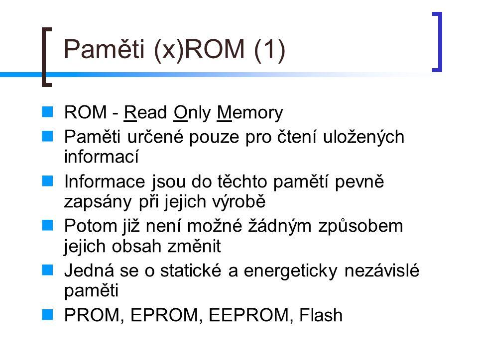 Paměti RAM RAM - Random Access Memory Paměti určené pro zápis i pro čtení dat Jedná se o paměti, které jsou energeticky závislé Podle toho, zda jsou dynamické nebo static-ké, jsou dále rozdělovány na:  DRAM – Dynamické RAM  SRAM – Statické RAM