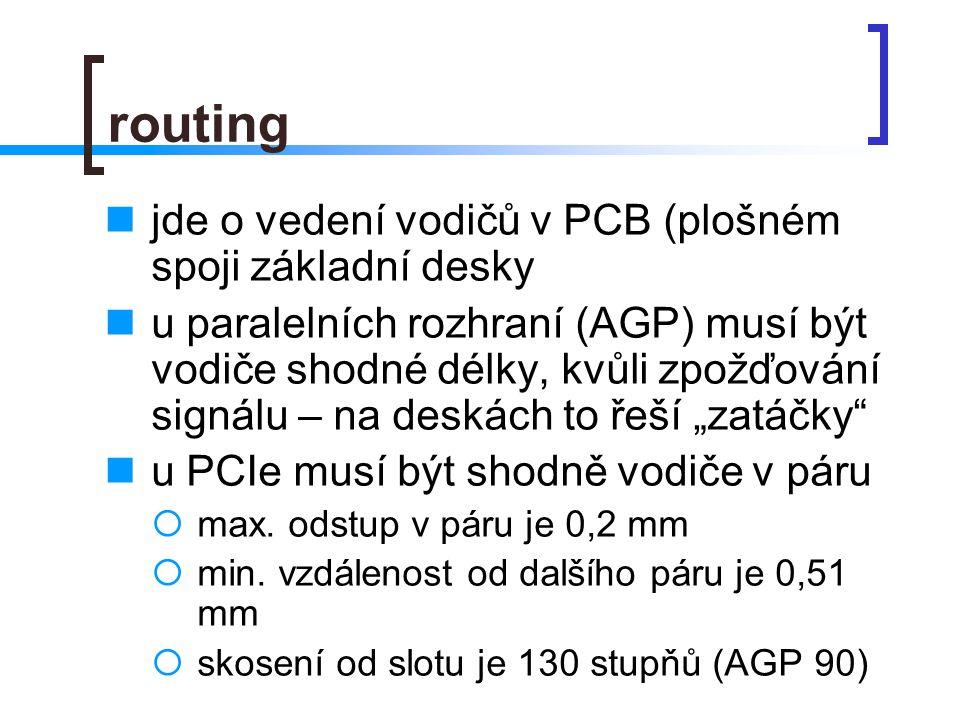 """routing jde o vedení vodičů v PCB (plošném spoji základní desky u paralelních rozhraní (AGP) musí být vodiče shodné délky, kvůli zpožďování signálu – na deskách to řeší """"zatáčky u PCIe musí být shodně vodiče v páru  max."""