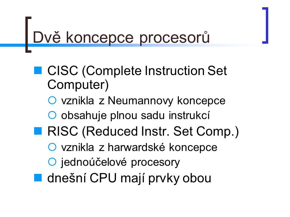 Instrukční sady každé vylepšení architektury vyžaduje nové instrukce např.