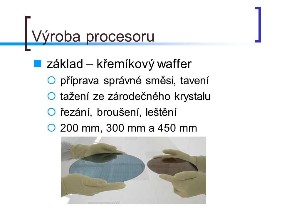 Fotolitografie první růst – vrstva oxidu křemičitého pokrytí fotorezistem osvícení přes masku leptání druhá vrstva SiO 2 vrstva polysilikonu (vodivé spoje a hradla) pokrytí fotorezistem atd.