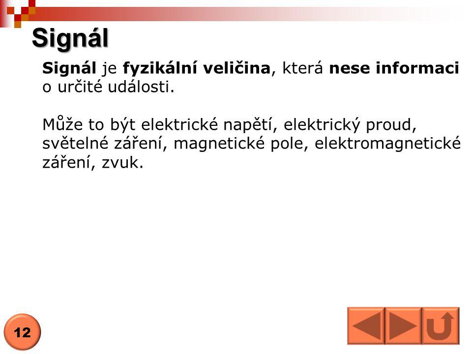 Signál Signál je fyzikální veličina, která nese informaci o určité události. Může to být elektrické napětí, elektrický proud, světelné záření, magneti