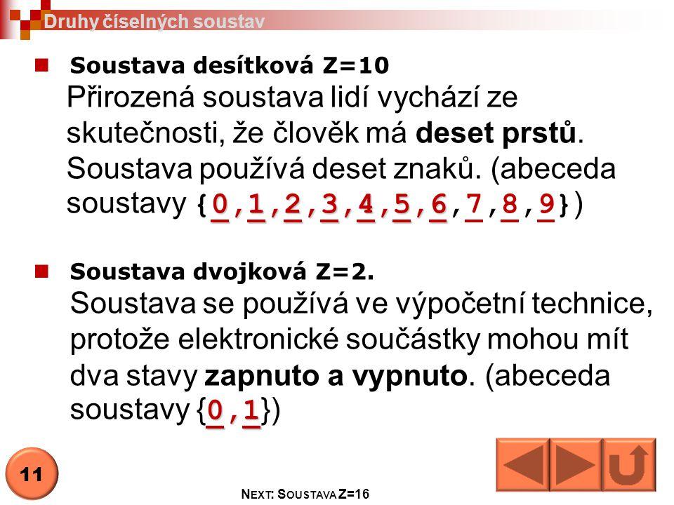 Soustava desítková Z=10 0,1,2,3,4,5,6 Přirozená soustava lidí vychází ze skutečnosti, že člověk má deset prstů. Soustava používá deset znaků. (abeceda