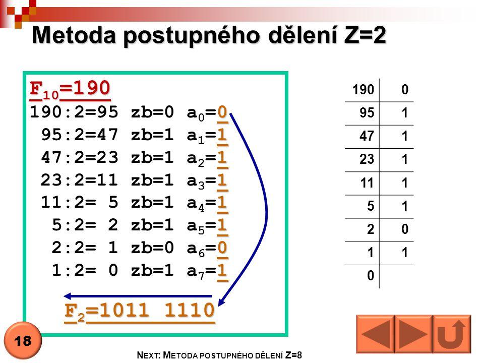 Metoda postupného dělení Z=2 1900 951 471 231 111 51 20 11 0 F 10 =190 0 190:2=95 zb=0 a 0 =0 1 95:2=47 zb=1 a 1 =1 1 47:2=23 zb=1 a 2 =1 1 23:2=11 zb