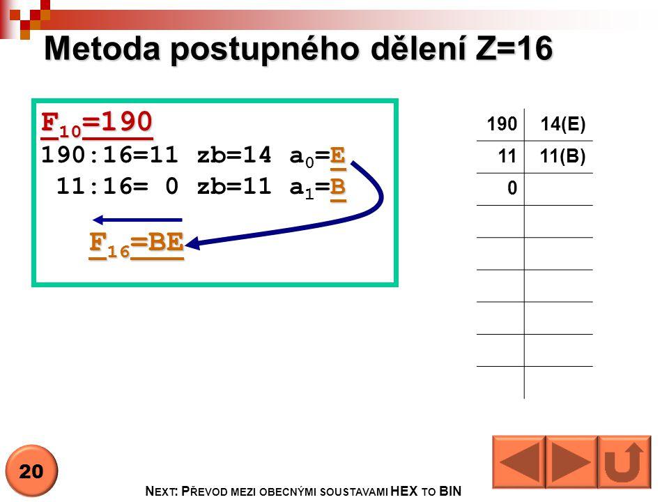 Metoda postupného dělení Z=16 19014(E) 1111(B) 0 F 10 =190 E 190:16=11 zb=14 a 0 =E B 11:16= 0 zb=11 a 1 =B F 16 =BE F 16 =BE 20 N EXT : P ŘEVOD MEZI