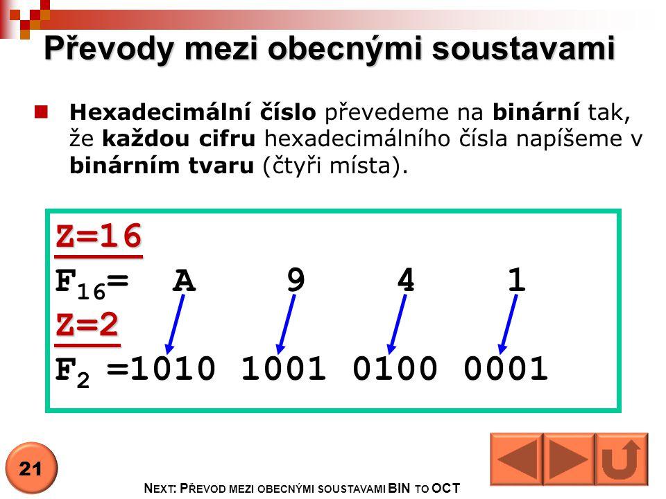 Převody mezi obecnými soustavami Hexadecimální číslo převedeme na binární tak, že každou cifru hexadecimálního čísla napíšeme v binárním tvaru (čtyři