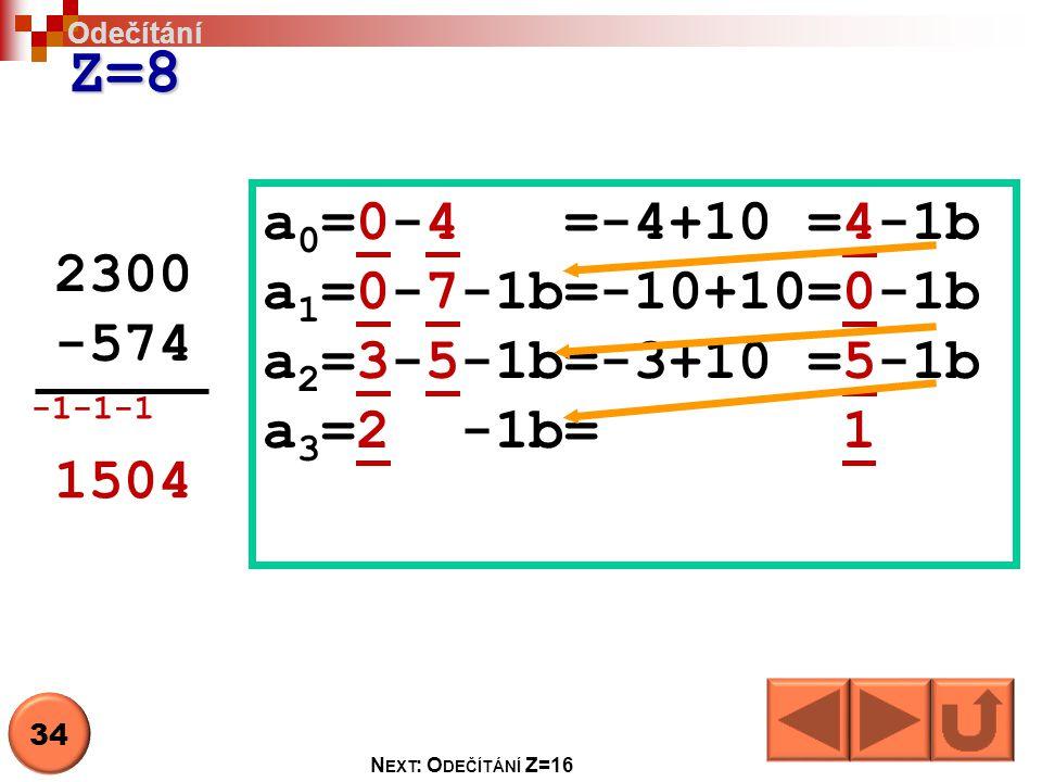 Z=8 2300 -574 a 0 =0-4 =-4+10 =4-1b a 1 =0-7-1b=-10+10=0-1b a 2 =3-5-1b=-3+10 =5-1b a 3 =2 -1b= 1 1504 Odečítání 34 N EXT : O DEČÍTÁNÍ Z=16