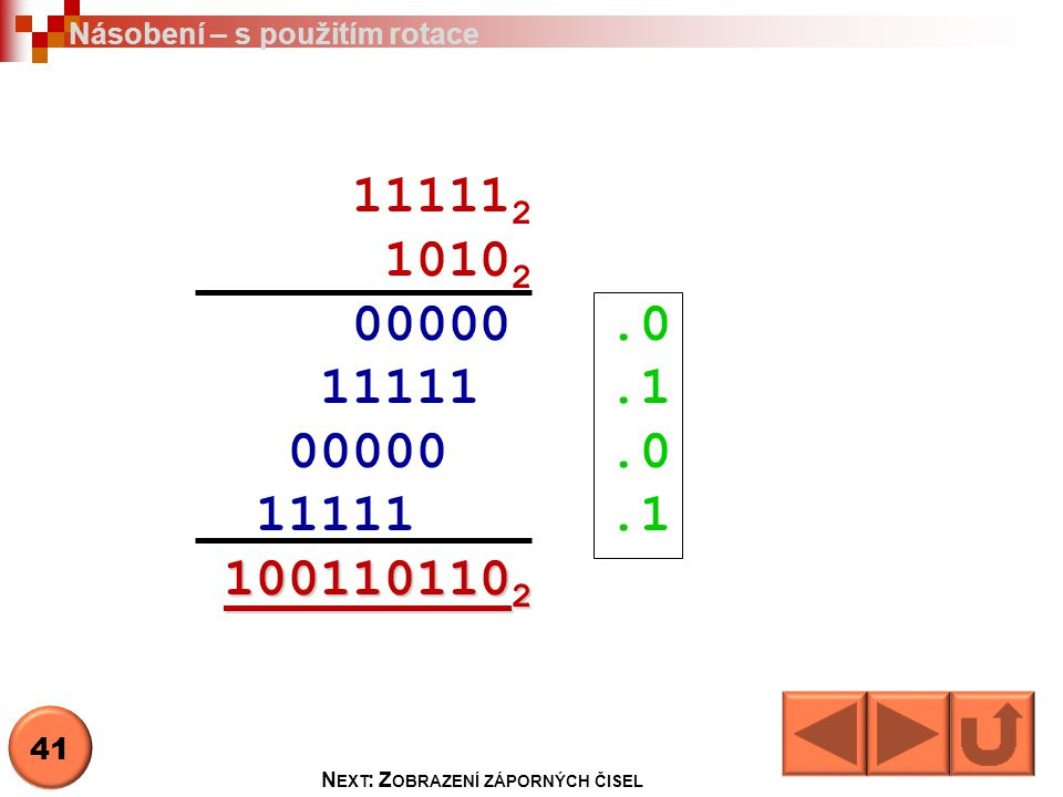 11111 2 1010 2 00000.0 11111.1 00000.0 11111.1 100110110 2 Násobení – s použitím rotace N EXT : Z OBRAZENÍ ZÁPORNÝCH ČISEL 41