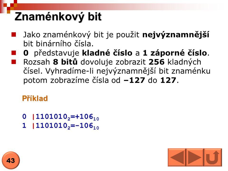 Znaménkový bit Jako znaménkový bit je použit nejvýznamnější bit binárního čísla. 0 představuje kladné číslo a 1 záporné číslo. Rozsah 8 bitů dovoluje