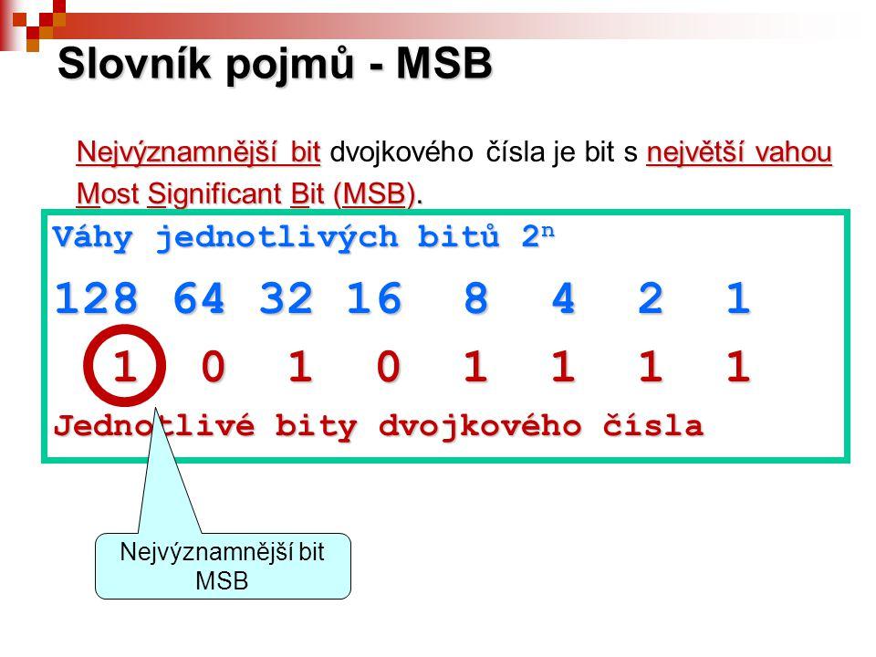 Slovník pojmů - MSB Nejvýznamnější bitnejvětší vahou Nejvýznamnější bit dvojkového čísla je bit s největší vahou Most Significant Bit (MSB). Váhy jedn