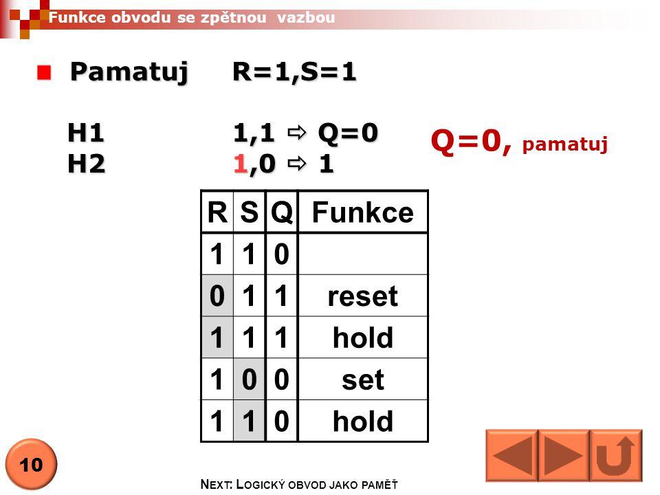 Funkce obvodu se zpětnou vazbou Pamatuj R=1,S=1 H11,1  Q=0 H21,0  1 Q=0, pamatuj RSQFunkce 110 011reset 111hold 100set 110hold 10 N EXT : L OGICKÝ OBVOD JAKO PAMĚŤ
