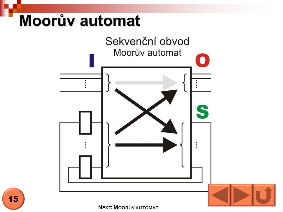 Moorův automat 15 N EXT : M OORŮV AUTOMAT