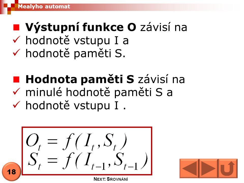 Výstupní funkce O závisí na hodnotě vstupu I a hodnotě paměti S.