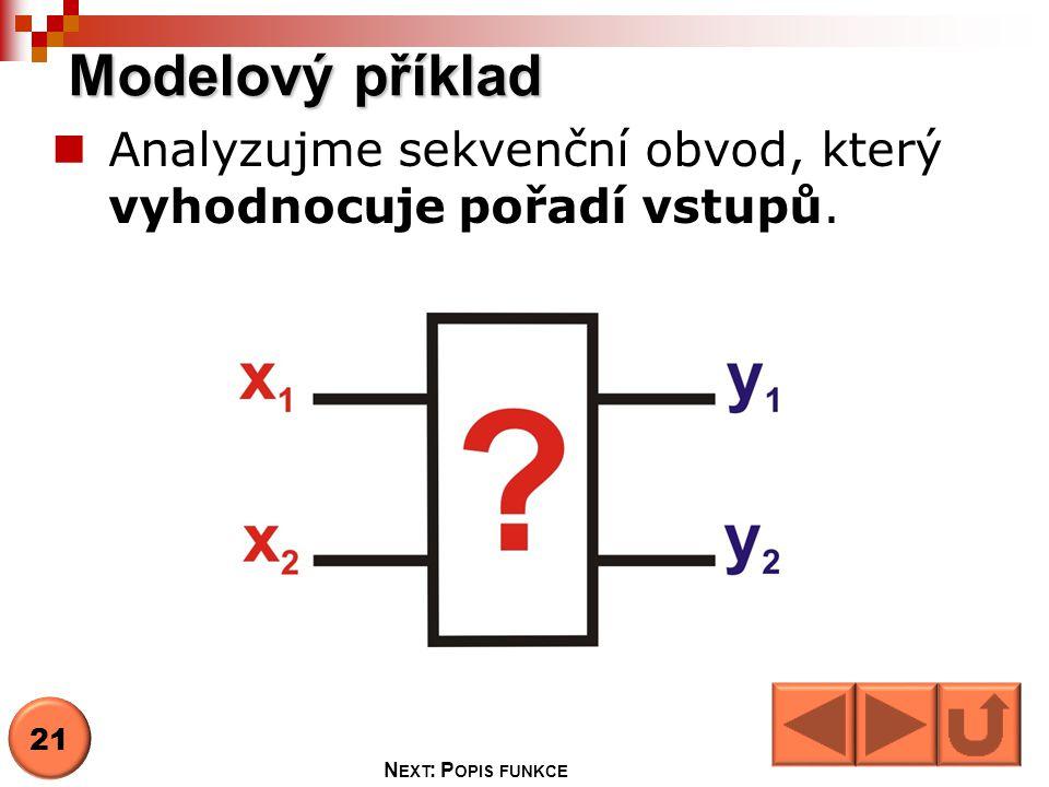 Analyzujme sekvenční obvod, který vyhodnocuje pořadí vstupů.