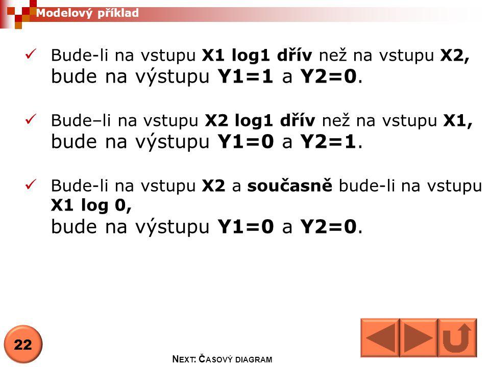 Bude-li na vstupu X1 log1 dřív než na vstupu X2, bude na výstupu Y1=1 a Y2=0.