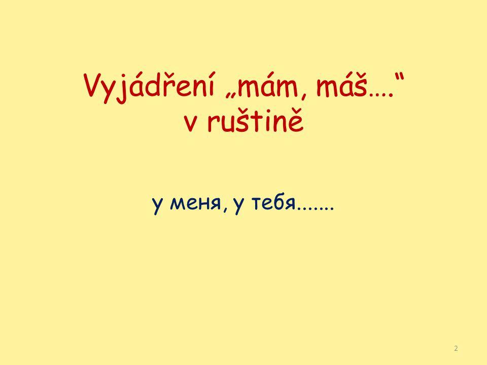"""Vyjádření """"mám, máš…. v ruštině у меня, у тебя....... 2"""