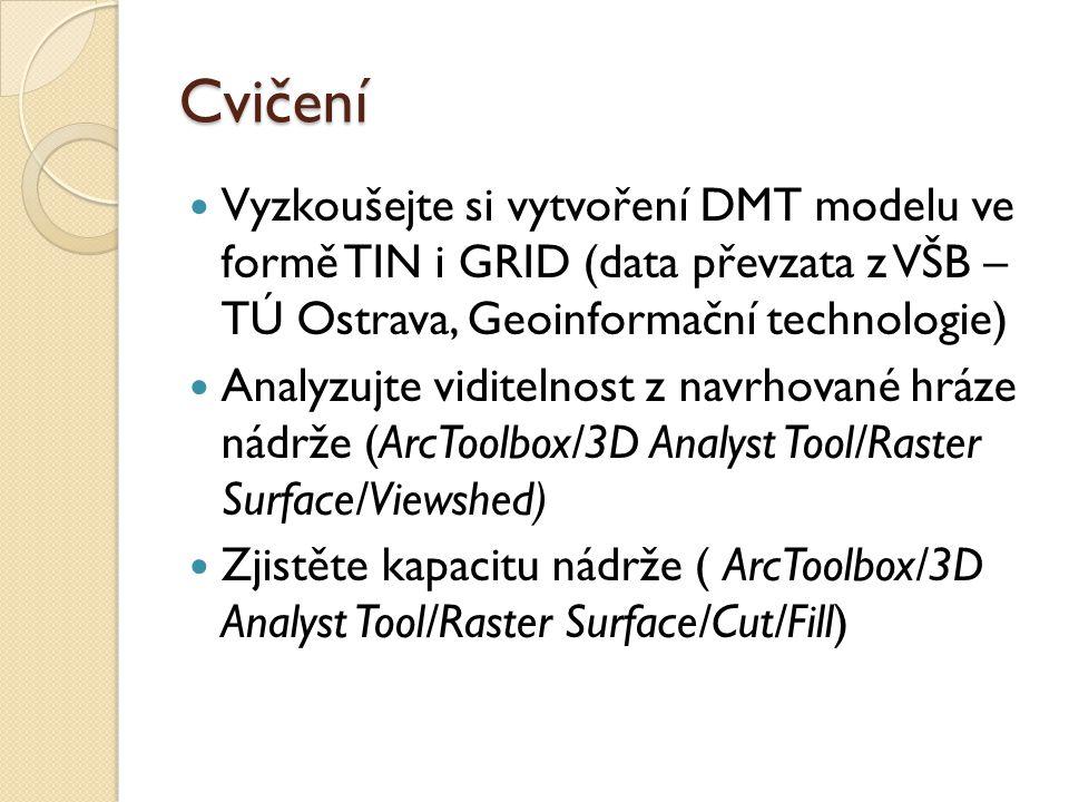 Cvičení Vyzkoušejte si vytvoření DMT modelu ve formě TIN i GRID (data převzata z VŠB – TÚ Ostrava, Geoinformační technologie) Analyzujte viditelnost z navrhované hráze nádrže (ArcToolbox/3D Analyst Tool/Raster Surface/Viewshed) Zjistěte kapacitu nádrže ( ArcToolbox/3D Analyst Tool/Raster Surface/Cut/Fill)