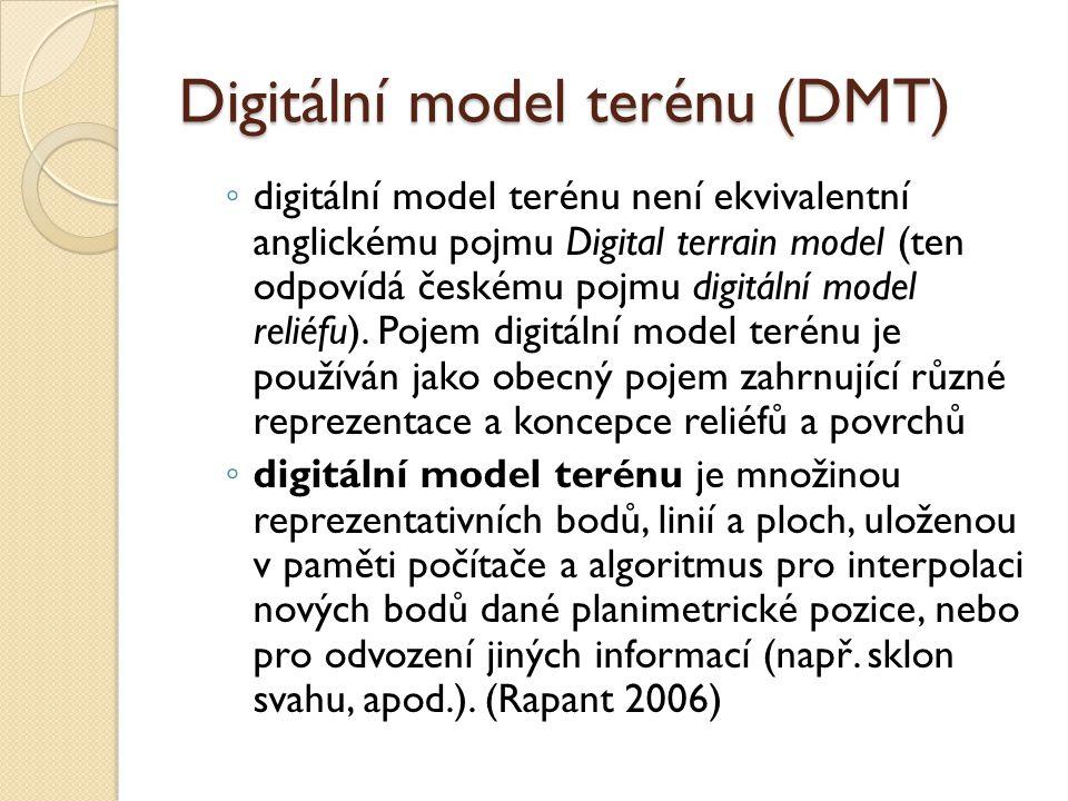 Digitální model terénu (DMT) ◦ digitální model terénu není ekvivalentní anglickému pojmu Digital terrain model (ten odpovídá českému pojmu digitální model reliéfu).