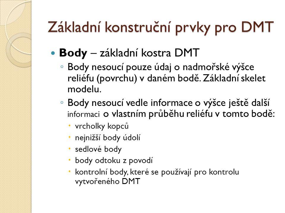 Základní konstruční prvky pro DMT Body – základní kostra DMT ◦ Body nesoucí pouze údaj o nadmořské výšce reliéfu (povrchu) v daném bodě.
