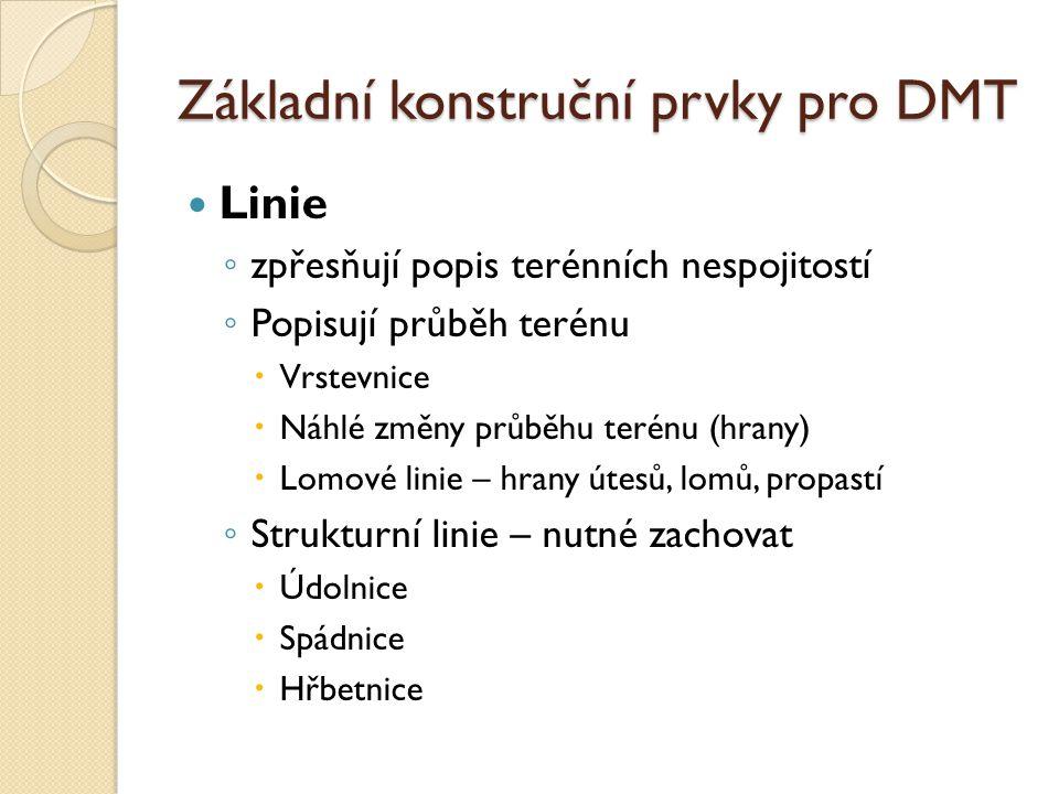 Základní konstruční prvky pro DMT Linie ◦ zpřesňují popis terénních nespojitostí ◦ Popisují průběh terénu  Vrstevnice  Náhlé změny průběhu terénu (hrany)  Lomové linie – hrany útesů, lomů, propastí ◦ Strukturní linie – nutné zachovat  Údolnice  Spádnice  Hřbetnice