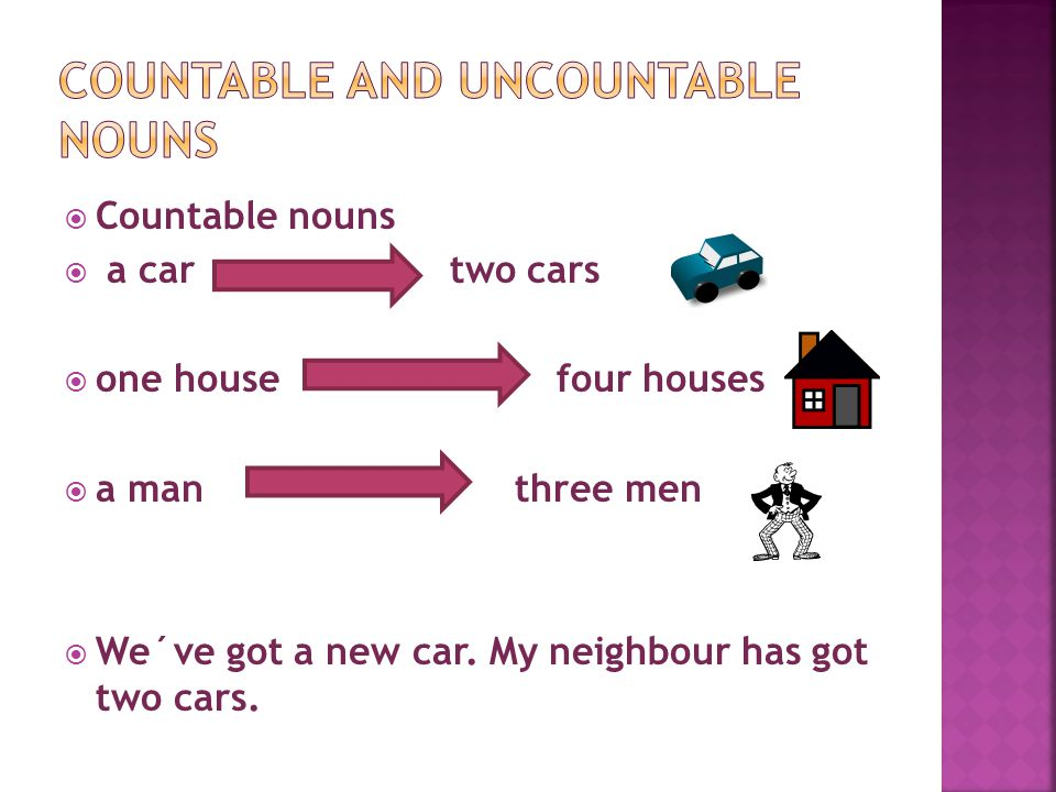  Countable nouns  a car two cars  one house four houses  a man three men  We´ve got a new car.