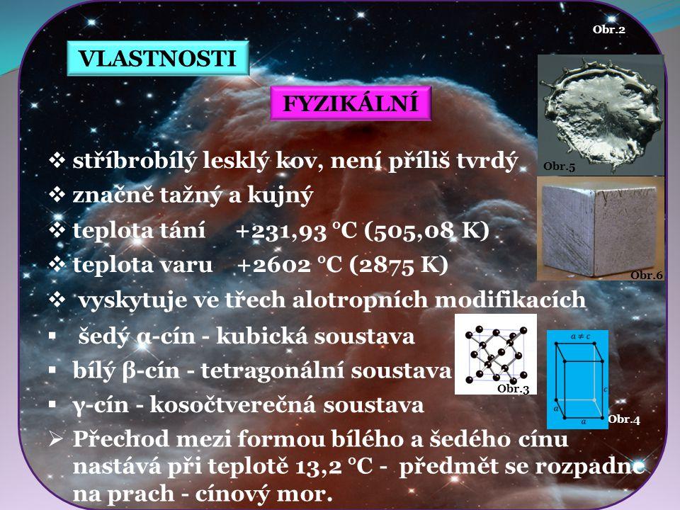 Obr.4 Obr.3 Obr.5 Obr.6 VLASTNOSTI FYZIKÁLNÍ  stříbrobílý lesklý kov, není příliš tvrdý  značně tažný a kujný  šedý α-cín - kubická soustava Obr.2