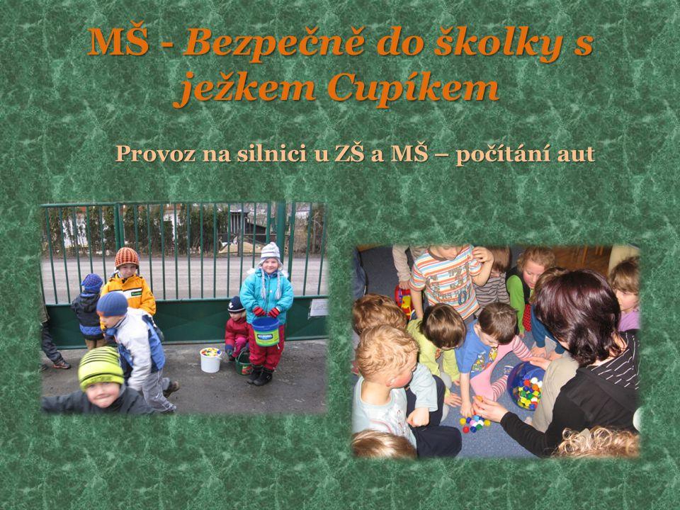 MŠ - Bezpečně do školky s ježkem Cupíkem Provoz na silnici u ZŠ a MŠ – počítání aut