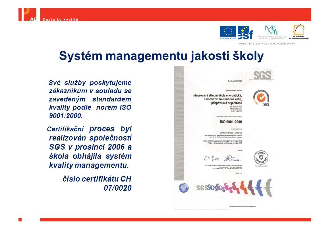 Systém managementu jakosti školy Své služby poskytujeme zákazníkům v souladu se zavedeným standardem kvality podle norem ISO 9001:2000. Certifikační p