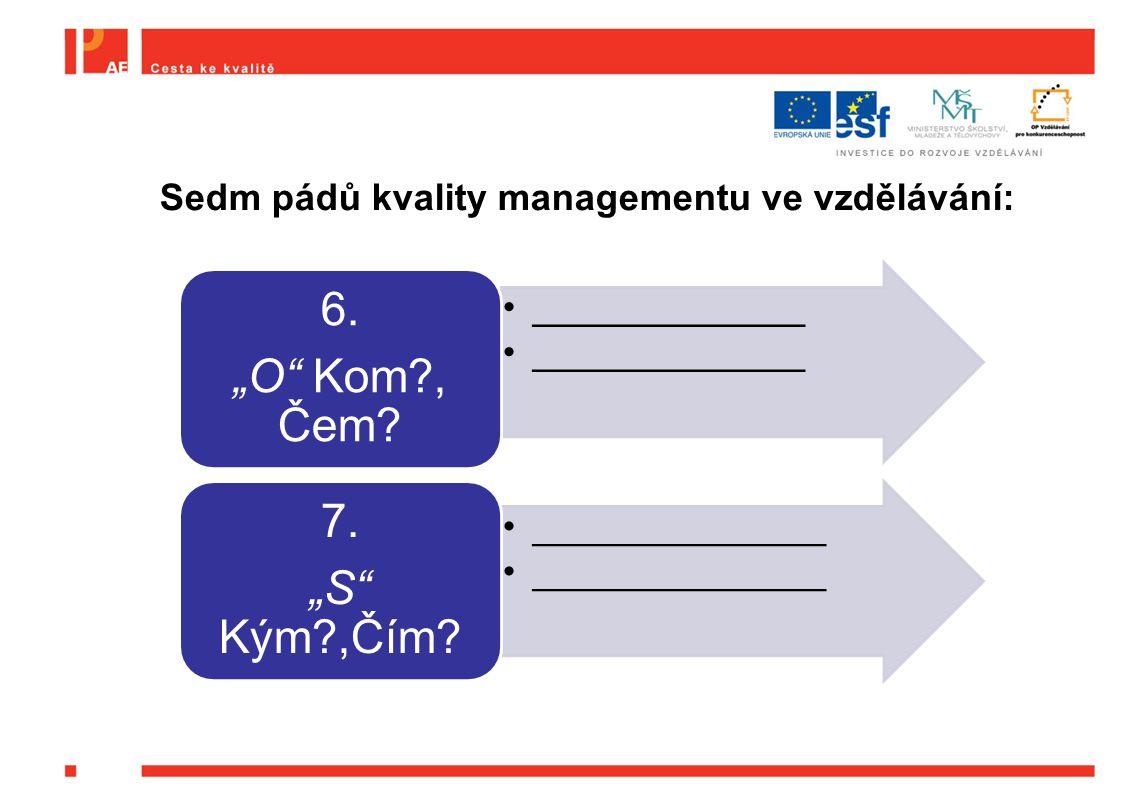 """_____________ 6. """"O"""" Kom?, Čem? ______________ 7. """"S"""" Kým?,Čím? Sedm pádů kvality managementu ve vzdělávání:"""