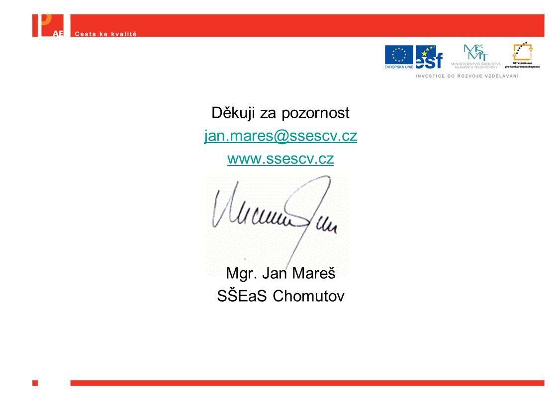Děkuji za pozornost jan.mares@ssescv.cz www.ssescv.cz Mgr. Jan Mareš SŠEaS Chomutov