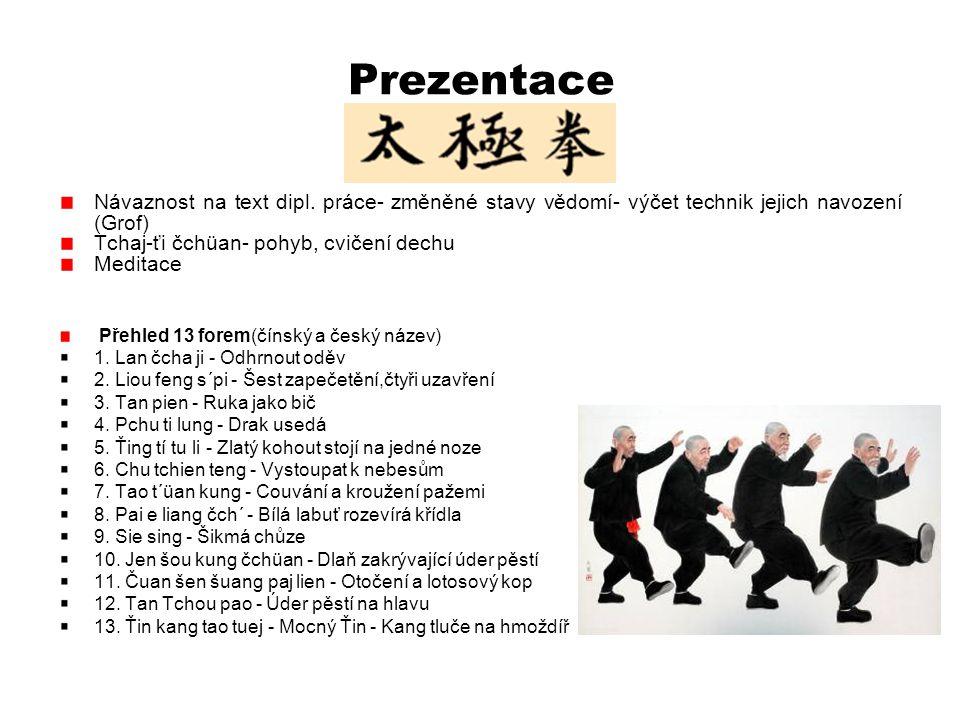 Prezentace Návaznost na text dipl. práce- změněné stavy vědomí- výčet technik jejich navození (Grof) Tchaj-ťi čchüan- pohyb, cvičení dechu Meditace Př