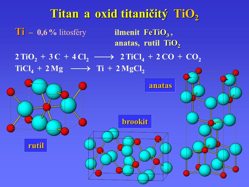 Titan a oxid titaničitý TiO 2 Ti FeTiO 3 Ti – 0,6 % litosféry ilmenit FeTiO 3, TiO 2 anatas, rutil TiO 2.