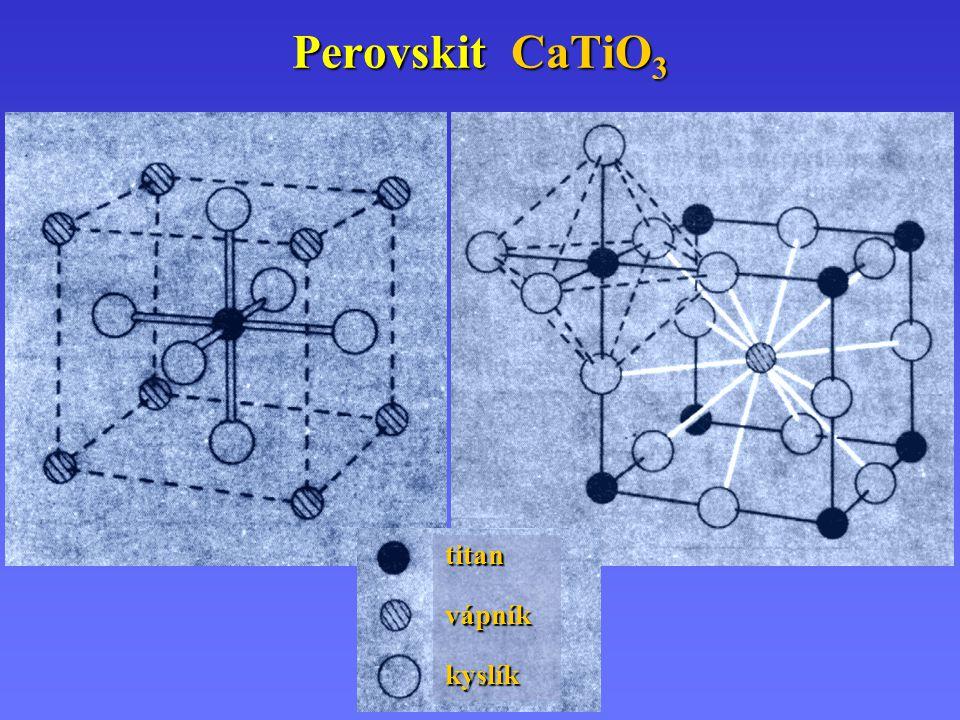 Směsné oxidy – Perovskity AMO 3 A IIIII AMO 3 A – kov alkalické zeminy (II), lanthanoid (III) M M – Ti, V, Cr, Mn, Fe, Co, Ni.