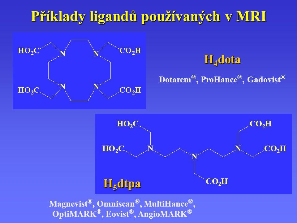 Příklady ligandů používaných v MRI H 4 dota Dotarem ®, ProHance ®, Gadovist ® H 5 dtpa Magnevist ®, Omniscan ®, MultiHance ®, OptiMARK ®, Eovist ®, AngioMARK ®