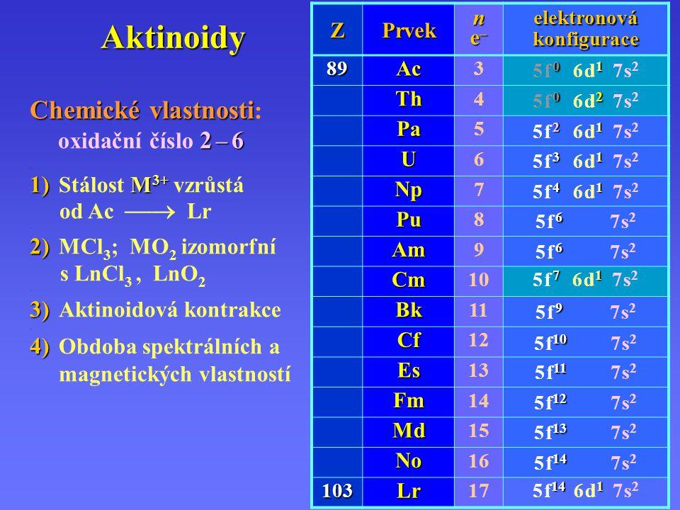 U Aktinoidy Th Th – 1,5 · 10 – 3 % monazit ~ až 10% ThO 2 ; ThI 2 ; sírany U U 3 O 8 U – smolinec U 3 O 8 – 2 kg / 1 t.
