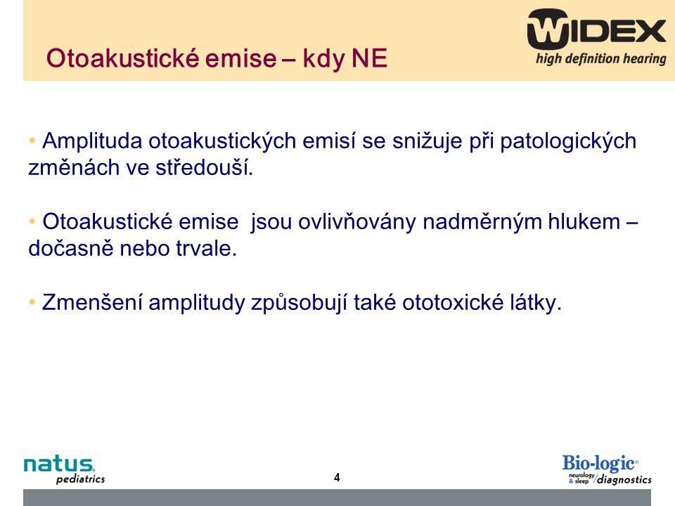 5 Rozdělení otoakustických emisí An Otoacoustic Emissions (OAE) test measures sound waves produced by the inner ear.