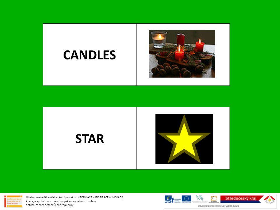 CANDLES STAR Učební materiál vznikl v rámci projektu INFORMACE – INSPIRACE – INOVACE, který je spolufinancován Evropským sociálním fondem a státním ro