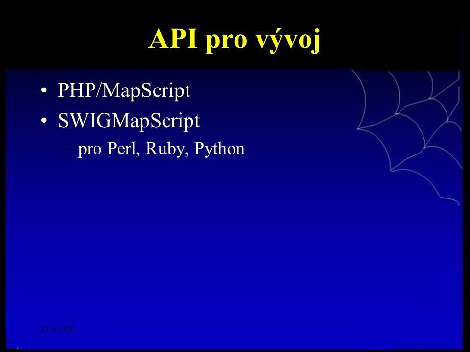 23/01/05 API pro vývoj PHP/MapScript SWIGMapScript –pro Perl, Ruby, Python