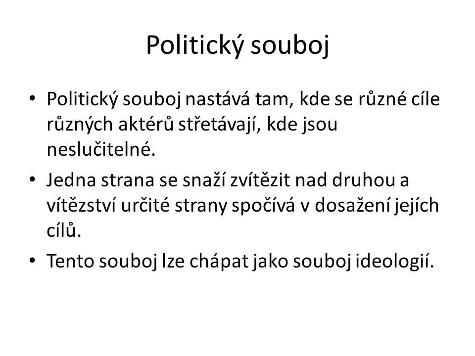 Politický souboj Politický souboj nastává tam, kde se různé cíle různých aktérů střetávají, kde jsou neslučitelné. Jedna strana se snaží zvítězit nad