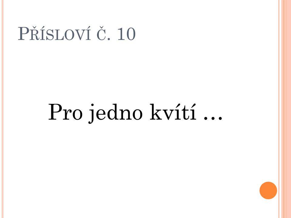 P ŘÍSLOVÍ Č. 10 Pro jedno kvítí …