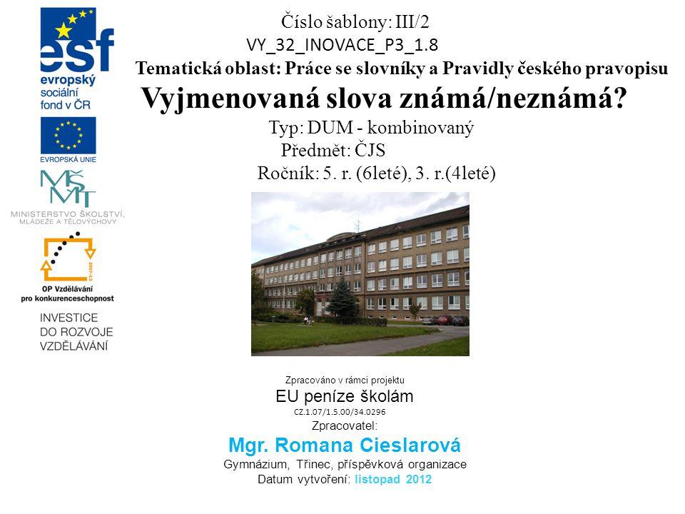 Číslo šablony: III/2 VY_32_INOVACE_P3_1.8 Tematická oblast: Práce se slovníky a Pravidly českého pravopisu Vyjmenovaná slova známá/neznámá? Typ: DUM -
