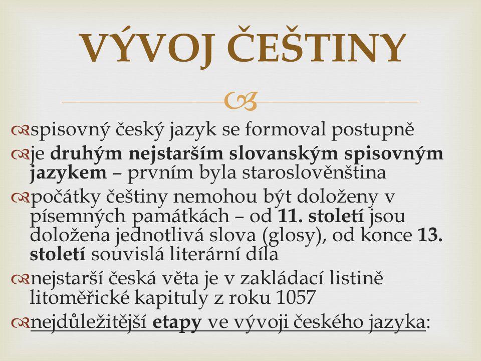   první velký rozkvět spisovné češtiny – doba vlády Karla IV.