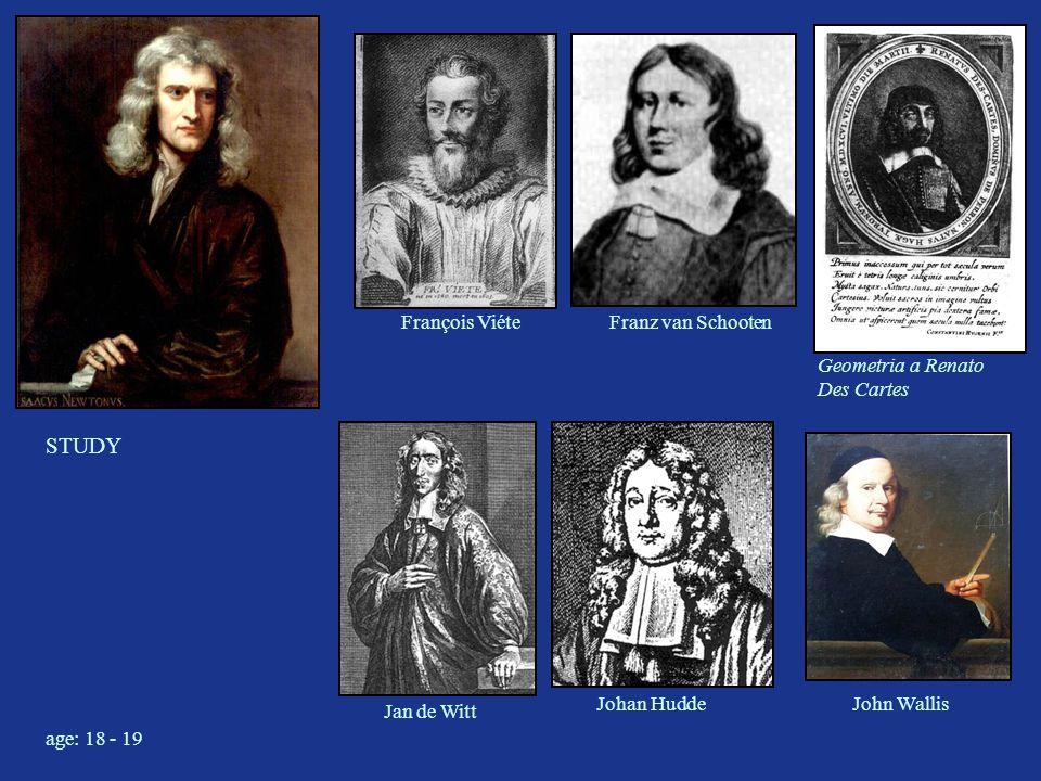 STUDY François ViéteFranz van Schooten Jan de Witt Johan Hudde John Wallis Geometria a Renato Des Cartes age: 18 - 19