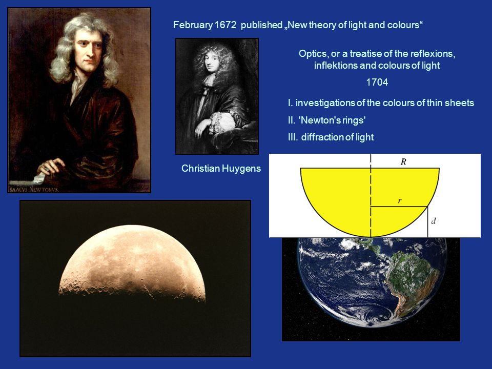 "age: 29 January 1672 felow of Royal Society February 1672 published ""New theory of light and colours Christian Huygens Optics, or a treatise of the reflexions, inflektions and colours of light 1704 I."