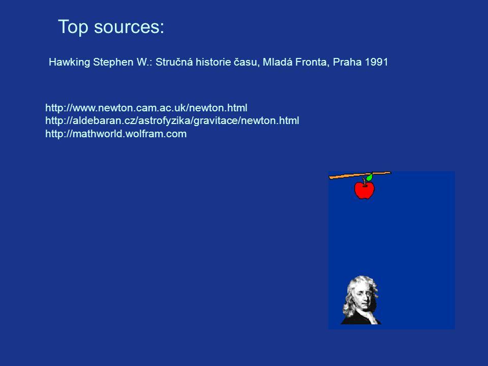 Top sources: Hawking Stephen W.: Stručná historie času, Mladá Fronta, Praha 1991 http://www.newton.cam.ac.uk/newton.html http://aldebaran.cz/astrofyzika/gravitace/newton.html http://mathworld.wolfram.com