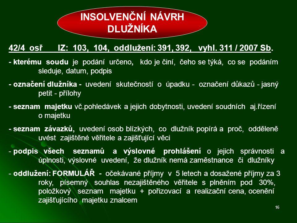 16 INSOLVENČNÍ NÁVRH DLUŽNÍKA 42/4 osř IZ: 103, 104, oddlužení: 391, 392, vyhl. 311 / 2007 Sb. - kterému soudu je podání určeno, kdo je činí, čeho se