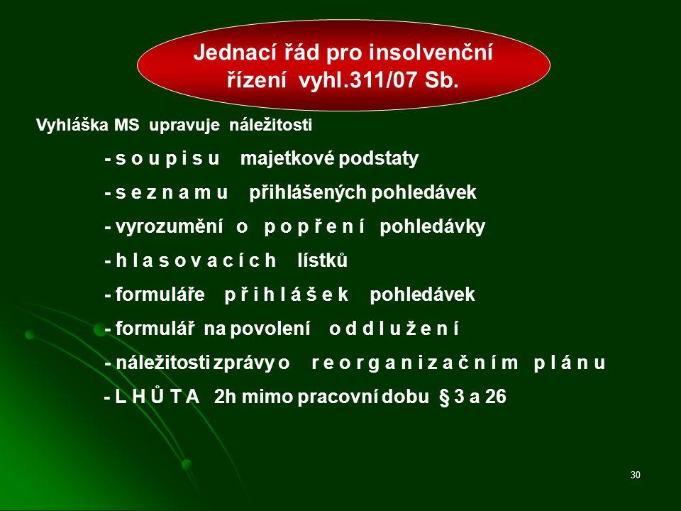 30 Jednací řád pro insolvenční řízení vyhl.311/07 Sb. Vyhláška MS upravuje náležitosti - s o u p i s u majetkové podstaty - s e z n a m u přihlášených