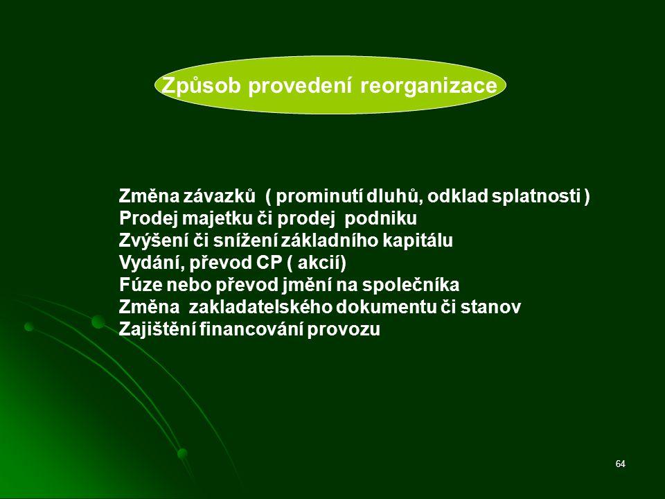 64 Způsob provedení reorganizace Změna závazků ( prominutí dluhů, odklad splatnosti ) Prodej majetku či prodej podniku Zvýšení či snížení základního k