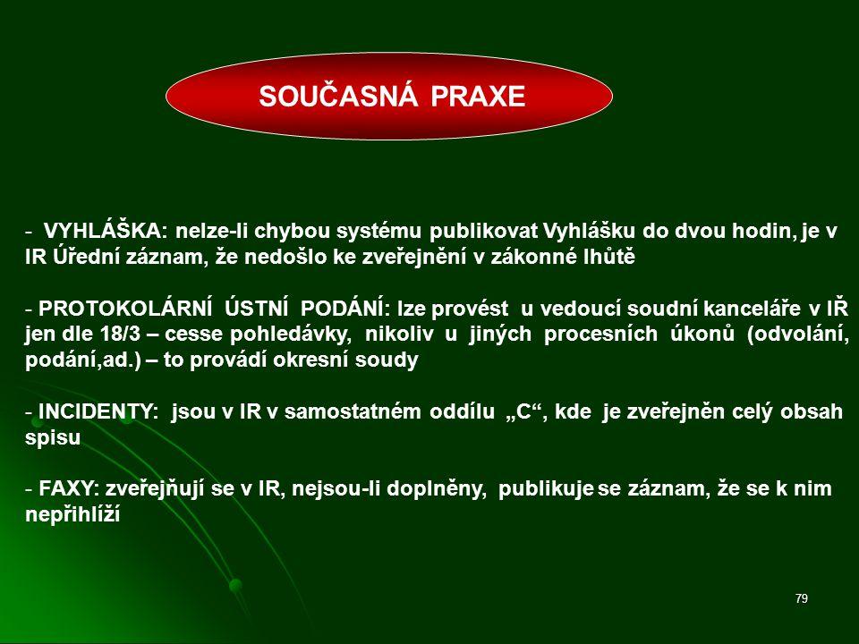 79 - VYHLÁŠKA: nelze-li chybou systému publikovat Vyhlášku do dvou hodin, je v IR Úřední záznam, že nedošlo ke zveřejnění v zákonné lhůtě - PROTOKOLÁR