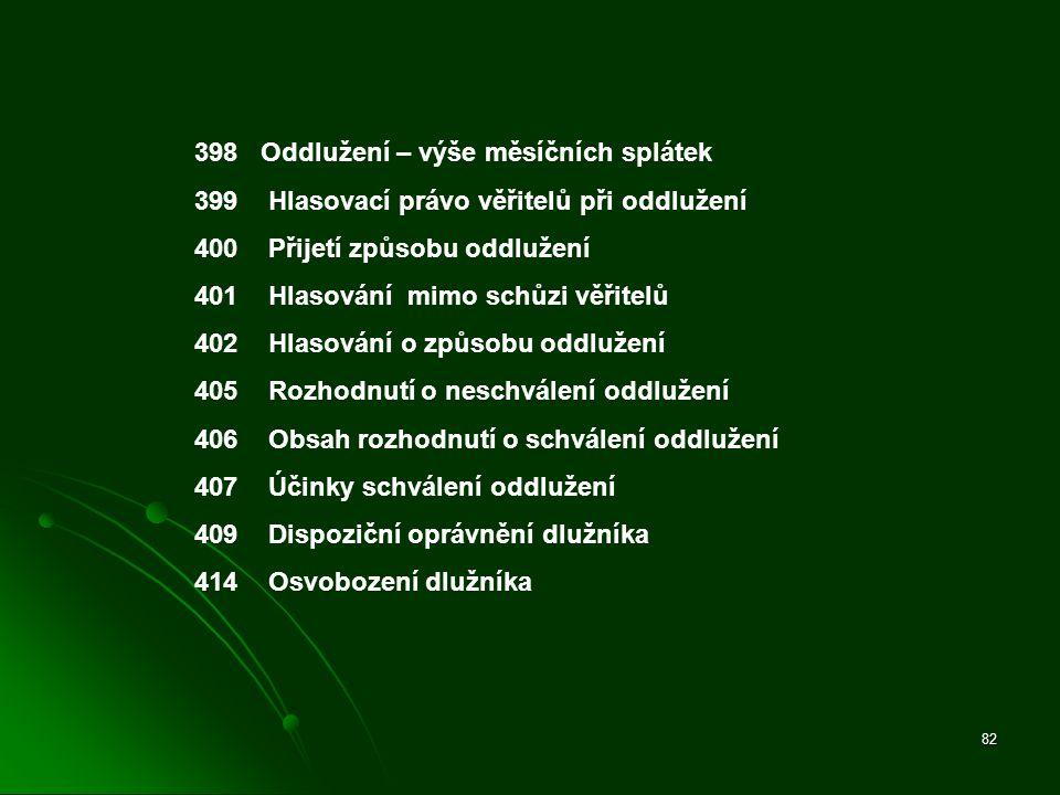 82 398 Oddlužení – výše měsíčních splátek 399 Hlasovací právo věřitelů při oddlužení 400 Přijetí způsobu oddlužení 401 Hlasování mimo schůzi věřitelů