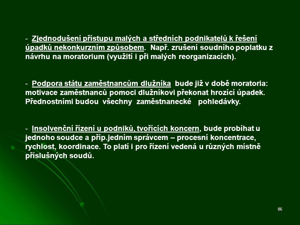 86 - Zjednodušení přístupu malých a středních podnikatelů k řešení úpadků nekonkurzním způsobem. Např. zrušení soudního poplatku z návrhu na moratoriu